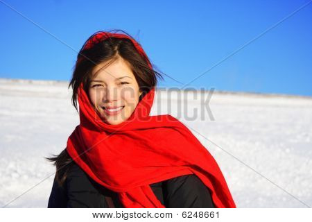 Winter Woman With Headscarf