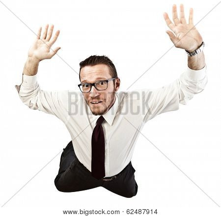 falling businessman isolated on white background