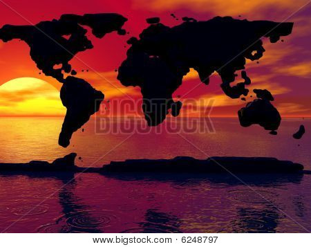Black Map with Sunset