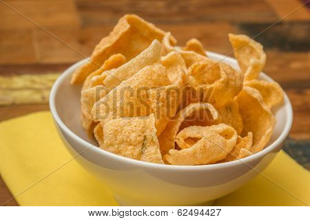 Traditional Chinese Prawn Crackers In White Bowl