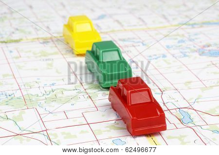 Miniature Cars On Map