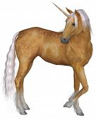 Magical palomino unicorn with golden horn and silver mane and tail turning against a white background, 3d digitally rendered illustration poster