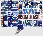 Word cloud programming languages or IT related poster
