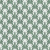 Green and White Marijuana Leaf Pattern Repeat Background that is seamless and repeats poster