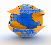 Import and export arrow around earth for business. Direction concept. 3d illustration on white background  poster