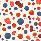 Seamless pattern of realistic image of delicious ripe berries poster