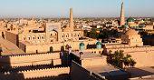 Evening view of Khiva (Chiva Heva Xiva Chiwa Khiveh) - Xorazm Province - Uzbekistan - Town on the silk road poster