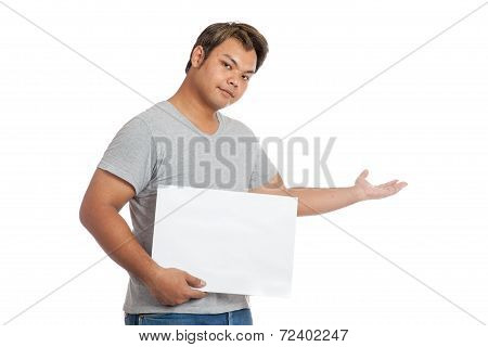Asian Man  Hold A Blank Sign Open His Hand Welcoming You