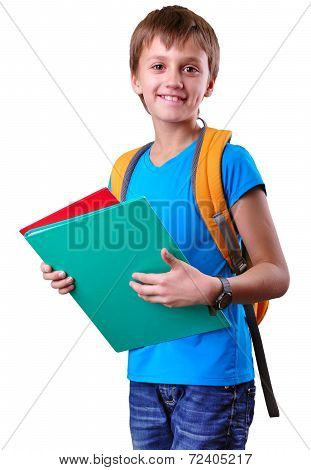 Pupil Of Grade School With Backpack And Books