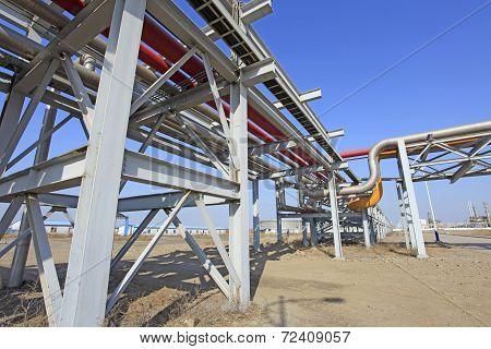 Oil field scene oil pipeline under the blue sky poster