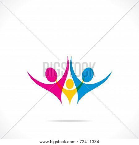 creative colorful family icon design