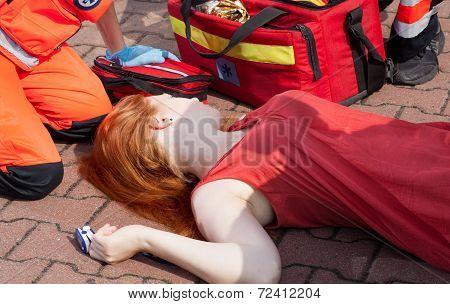 Unconscious Girl Lying On Street