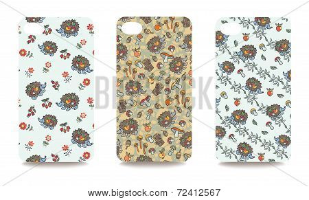Mobile phone cover back set .Cute hedgehog,Autumn harvest