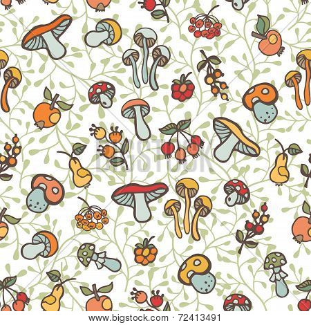 Doodle seamless pattern.Autumn harvest vector