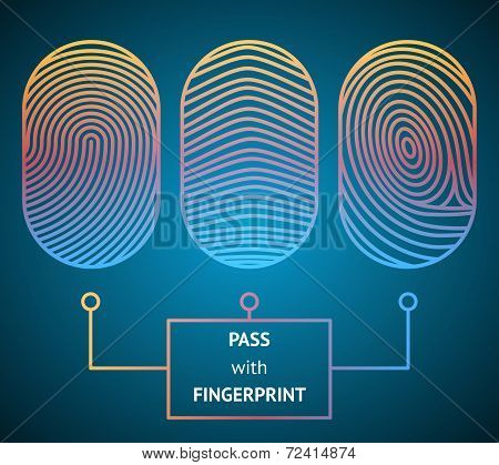 Fingerprint scanner with text - Pass with Fingerprint showing three different unique whorled patterns for comparison and identification for access to an electronic device in a security concept poster