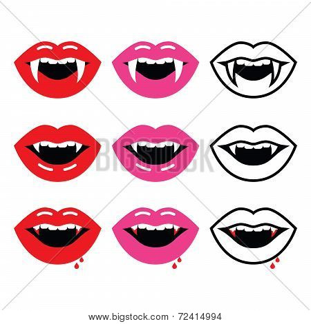 Vampire mouth, vampire teeth vector icons set