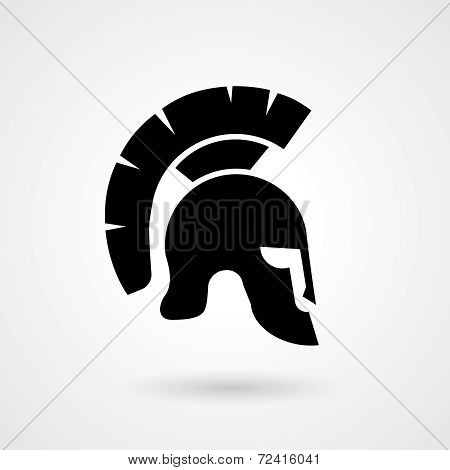 Silhouette of an ancient Roman or Greek helmet