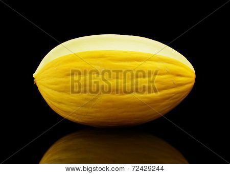 Whole Yellow Canary Melon Isolated Black In Studio