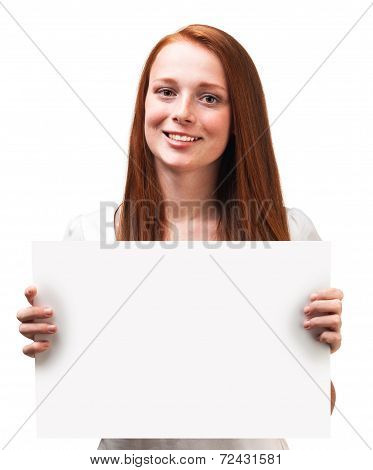 Beautiful Red-haired Girl Holding A Board Isolated On White Background