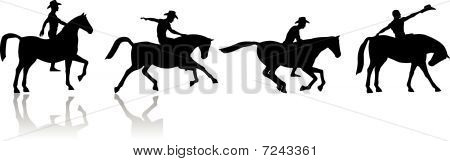 Cowboy and horse silhouettes