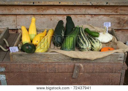 Garden produce for sale.