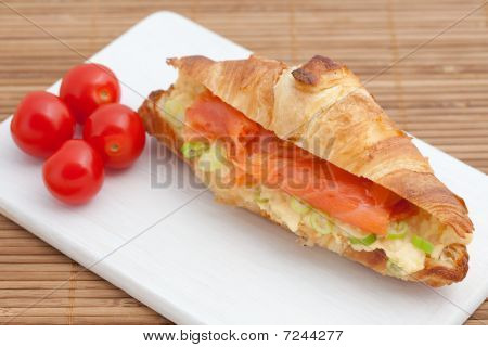 Croissant With Smoked Salmon And Scrambled Eggs