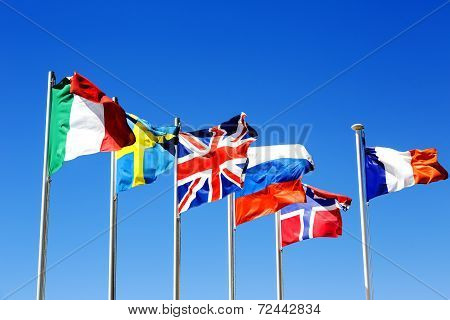 The Flags Of Six Countries