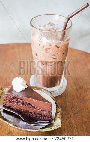 Delicious Chocolate Cake And Cold Drink