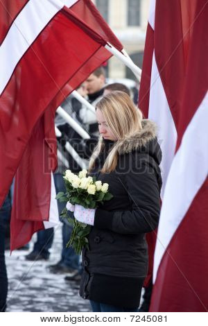 Commemoration Of The Latvian Waffen Ss Unit Or Legionnaires