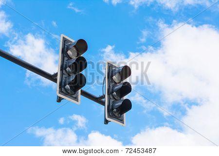 Image Of Traffic Light, The Light Is Fail. Symbolic  For Error