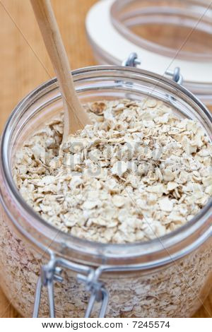 Porridge Oats In A Glass Jar