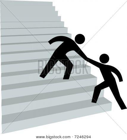 Helfende Hand, Freund oben auf der Treppe nach oben zu helfen