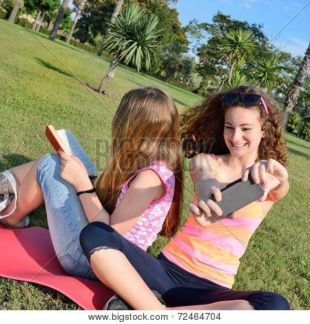 Two Girls In Meadow