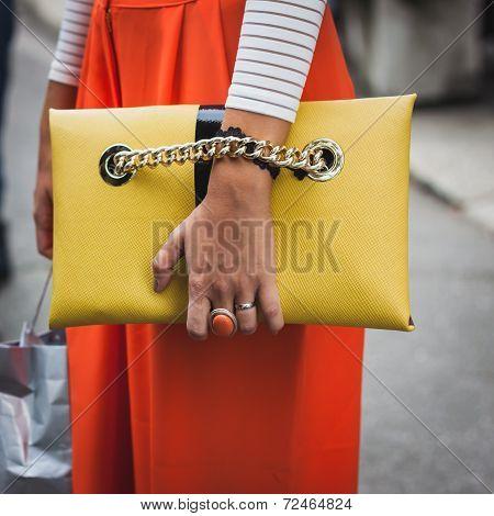 Detail Of Bag Outside Gucci Fashion Shows Building For Milan Women's Fashion Week 2014