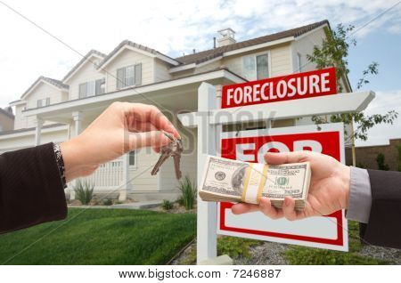 Handing Over Cash For House Keys in Front of House and Foreclosure Sign poster