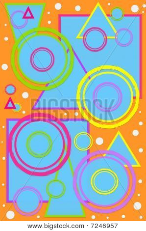 Geometric designed scrapbooking page with circles squares and triangles in hot colors. Bright orange background is polka dotted with white dots. poster