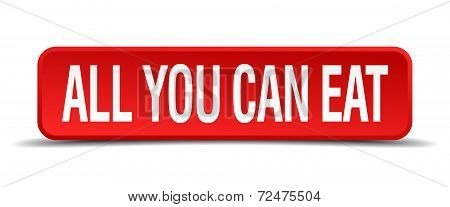 All You Can Eat Red Three-dimensional Square Button Isolated On White Background