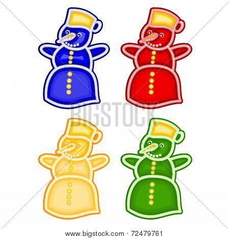 Christmas Trimmings Snowman Faience Vector