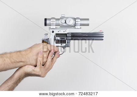 Shooter holds .357 Magnum Revolver