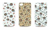 Set fashionable Autumn harvest ornaments with fanny hedgehog for mobile phone cover. The visible part of the clipping mask. poster