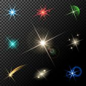 vector glowing lights, stars and sparkles on transparent background poster