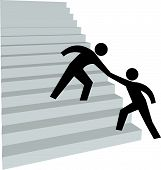 A friend gives a person a helping hand up on to climb the stairway to success. poster