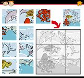 Cartoon Illustration of Education Jigsaw Puzzle Game for Preschool Children with Sea Life Animals or Fish Group poster
