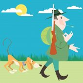 Hunter and his dog hunting vector illustration cartoon poster