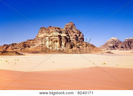 Red And Yellow Sands In Wadi Rum Desert, Jordan