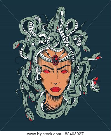 Illustration of Medusa Gorgon head.