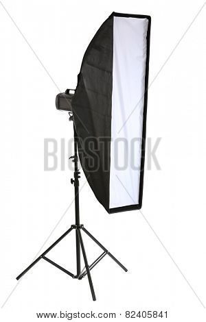 Studio flash with soft box isolated on white