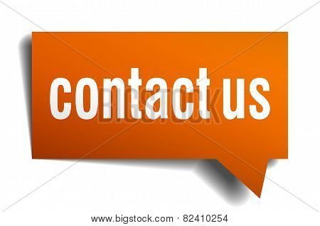 Contact Us Orange Speech Bubble Isolated On White