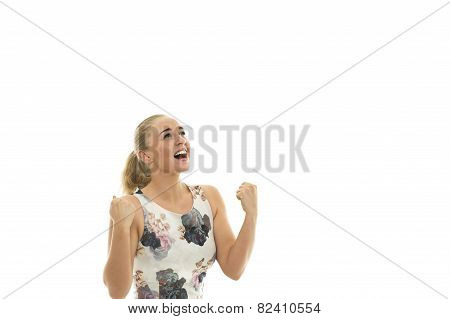Elated Jubilant Young Blond Woman