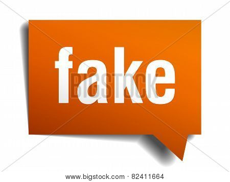 Fake Orange Speech Bubble Isolated On White